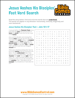 Easter Word Search Jesus Washes His Disciples Feet