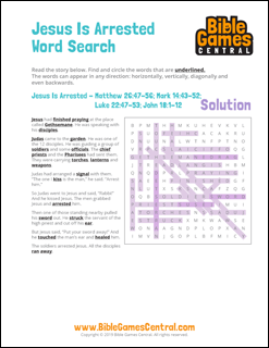 Easter Word Search Jesus is Arrested Solution