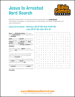 Easter Word Search Jesus is Arrested