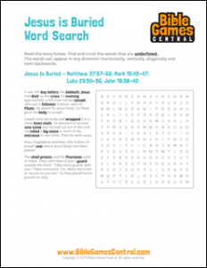 Easter Word Search Jesus is Buried