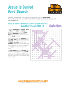 Easter Word Search Jesus is Buried Solution