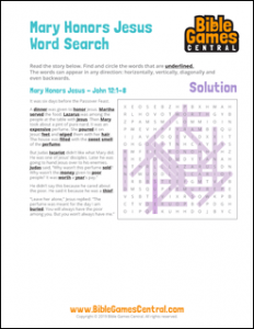 Easter Word Search Mary Honors Jesus Solution