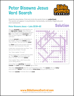 Easter Word Search Peter Disowns Jesus Solution