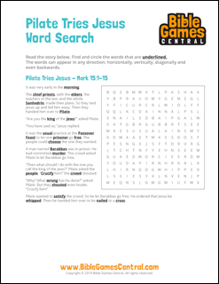Easter Word Search Pilate Tries Jesus