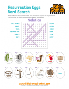 Easter Word Search Resurrection Eggs Solution