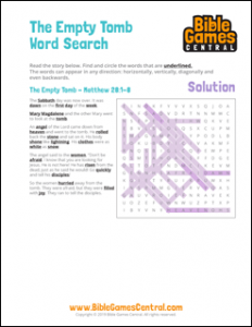 Easter Word Search The Empty Tomb Solution