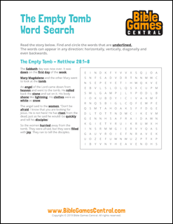 Easter Word Search The Empty Tomb