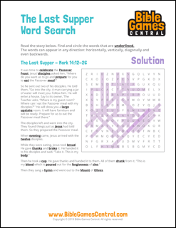 Easter Word Search The Last Supper Solution