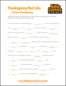 A Crazy Thanksgiving Mad Libs