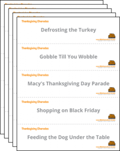 Thanksgiving Charades Cards