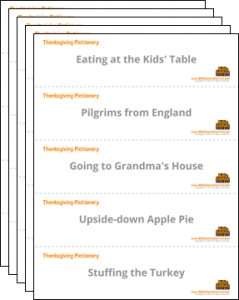 Thanksgiving Pictionary Printable Cards