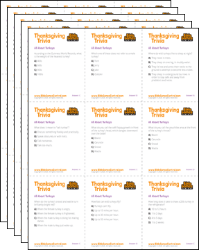 Thanksgiving Trivia Cards