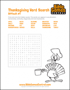 Thanksgiving Word Search Difficult 1