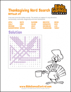 Thanksgiving Word Search Difficult 1 Solution