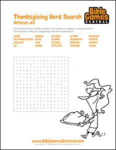 Thanksgiving Word Search Difficult 3