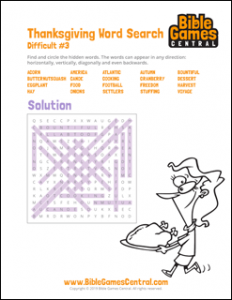 Thanksgiving Word Search Difficult 3 Solution