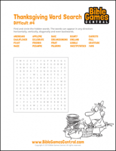 Thanksgiving Word Search Difficult 4