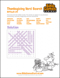 Thanksgiving Word Search Difficult 4 Solution