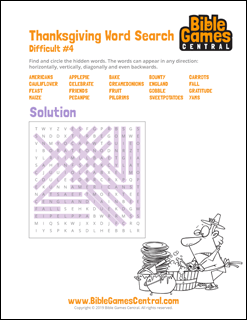 Thanksgiving Word Search Difficult 4 Solution | Bible ...