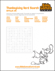Thanksgiving Word Search Difficult 5