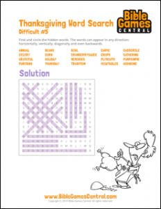 Thanksgiving Word Search Difficult 5 Solution