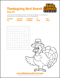 Thanksgiving Word Search Easy 1