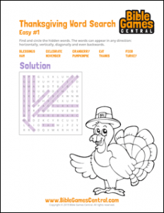 Thanksgiving Word Search Easy 1 Solution