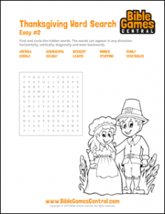 Thanksgiving Word Search Easy 2