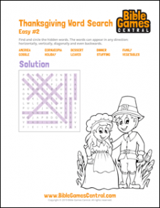 Thanksgiving Word Search Easy 2 Solution