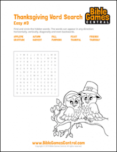 Thanksgiving Word Search Easy 3