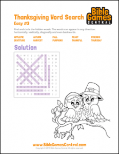 Thanksgiving Word Search Easy 3 Solution