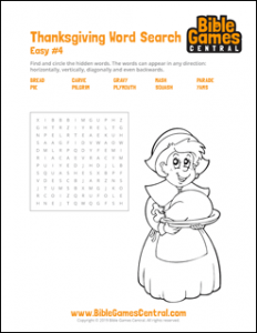 Thanksgiving Word Search Easy 4