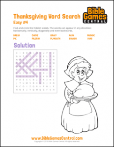 Thanksgiving Word Search Easy 4 Solution