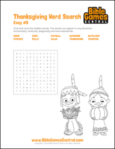 Thanksgiving Word Search Easy 5
