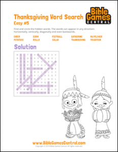 Thanksgiving Word Search Easy 5 Solution