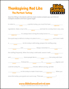 The Perfect Turkey Thanksgiving Mad Libs