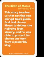 Emoji Bible Stories Birth of Moses Summary Card Back Description