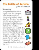 Emoji Bible Stories Jericho Summary Card Front Description