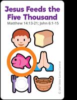 Emoji Bible Stories Jesus Feeds Purple Card Description